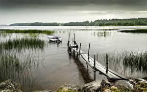Картинка Швеция Озеро Лодки Причалы Skagern Природа