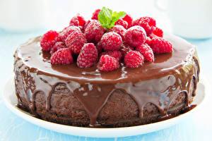 Фотография Сладкая еда Торты Шоколад Малина Еда