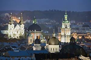 Картинки Украина Дома Храмы Львов Ночные Купола город