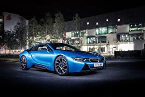 Фотографии BMW Здания Голубая Ночь 2014 i8 Автомобили