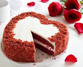 Картинка Сладкая еда Торты Розы День святого Валентина Сердце Продукты питания