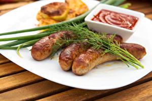 Фото Мясные продукты Укроп Кетчуп Продукты питания