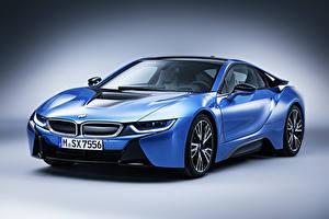 Картинки BMW Тюнинг Голубых Металлик Дорогая 2015 i8 Pure Impulse машины