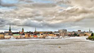 Фото Швеция Здания Реки Небо Стокгольм Облака Города