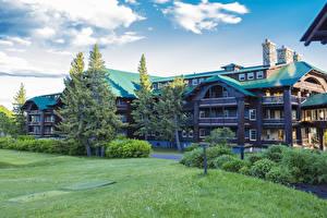 Обои США Здания Парки Небо Ель Трава Glacier National Park Montana Города