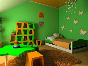 Картинка Интерьер Игрушки Детская комната Дизайн Кровать Комната