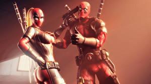 Фото Герои комиксов Дэдпул Пистолеты Мечи Lady Deadpool Фэнтези 0D_Графика