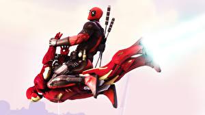 Картинка Герои комиксов Дэдпул Железный человек герой Летящий Мечи