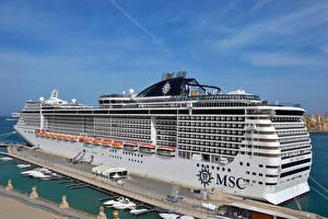 Фотографии Корабли Круизный лайнер Причалы MSC Preziosa