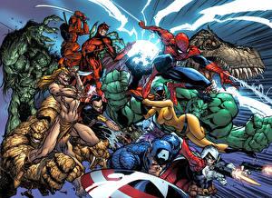 Картинки Герои комиксов Битвы Халк герой Супермен герой Женщина-кошка герой Фэнтези