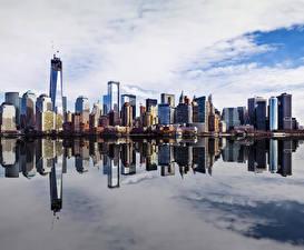 Картинка Америка Небоскребы Реки Здания Нью-Йорк город