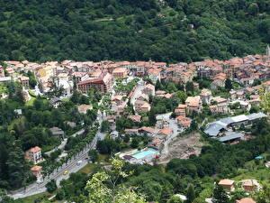 Фотографии Франция Здания Сверху Saint-Martin-Vesubie город