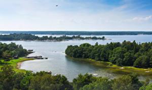 Обои Швеция Реки Лес Пейзаж Arholma Природа