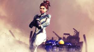 Фотография StarCraft StarCraft 2 Воины Сара Керриган 3D_Графика Девушки Фэнтези