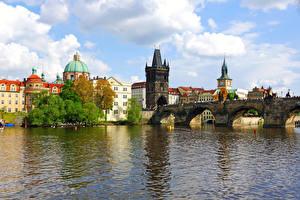 Фотографии Чехия Прага Дома Река Мосты Карлов мост город