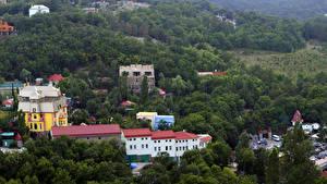Обои Дома Россия Крым Сверху Ялта Города фото