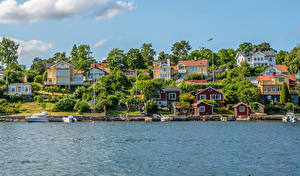 Фотография Швеция Дома Реки Стокгольм город