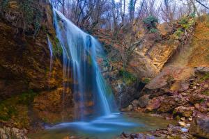 Обои Россия Водопады Осень Крым Природа фото