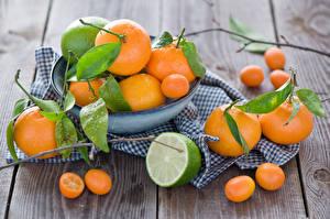 Фотография Цитрусовые Мандарины Лайм Kumquat Еда