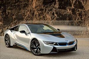 Фото BMW Серебристая Дорогой 2015 i8 автомобиль