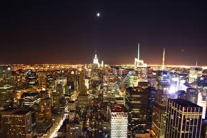 Картинка Америка Небоскребы Нью-Йорк Ночные Мегаполис Города