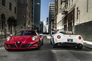Фото Alfa Romeo Дороги Вдвоем Металлик Спереди Сзади 2015 4C Машины