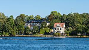 Картинки Швеция Дома Речка Стокгольм