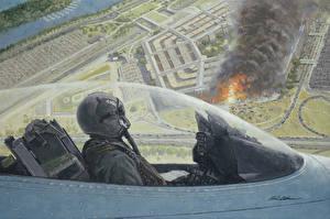Фотография Самолеты Рисованные Истребители F-16 Fighting Falcon Кабина летчика Virginia Washington Pentagon on September 11, 2001 Авиация
