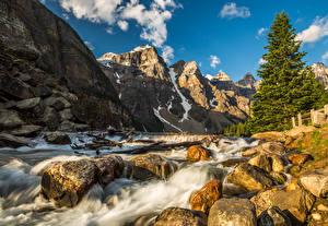 Обои Канада Парки Горы Водопады Камни Банф Ель Природа