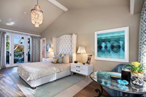 Обои Интерьер Спальня Дизайн Кровати Лампы Подушки