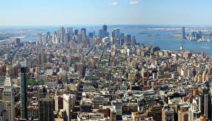 Обои для рабочего стола США Небоскребы Нью-Йорк Мегаполис город