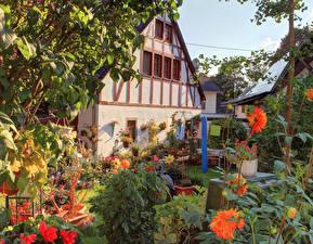Картинки Германия Дома Сады Георгины Landkern Города