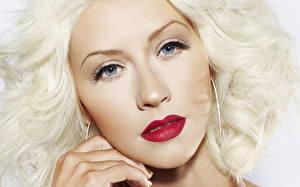 Картинки Christina Aguilera Лицо Смотрит Блондинка Волосы Серьги Знаменитости Девушки