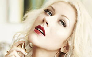 Картинка Кристина Агилера Лицо Смотрит Блондинка Волосы Знаменитости Девушки