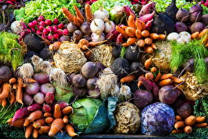 Картинка Овощи Морковь Капуста Много Пища Редис