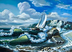 Картинка Парусные Волны Рисованные Лодки Облако