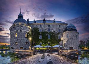 Фотографии Швеция Замок Ночь Örebro