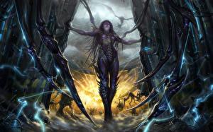 Картинки StarCraft StarCraft 2 Сверхъестественные существа Kerrigan, Queen Фэнтези