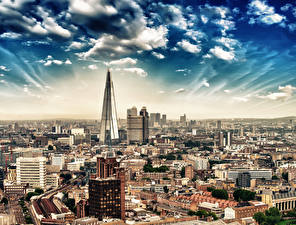 Обои Великобритания Дома Небо Лондоне Облачно город