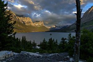 Фотография США Парк Озеро Горы Небо Рассветы и закаты Ели Glacier Montana Природа