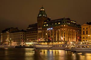 Фотография Швеция Здания Река Стокгольм Ночные город