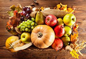 Фотография Осень Фрукты Яблоки Виноград Тыква Груши Лист Пища
