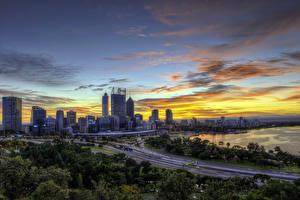 Обои Австралия Дома Дороги Рассветы и закаты Сидней Города