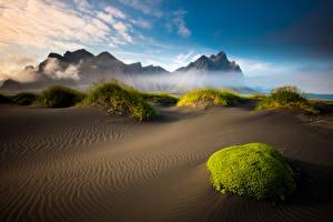 Фотографии Исландия Пейзаж Горы Песок Reykjavik Природа