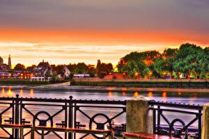 Картинки Здания Речка Рассветы и закаты Великобритания HDRI Лондон Города