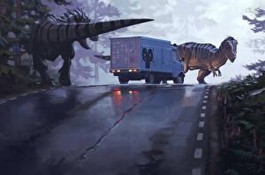 Картинки Динозавры Грузовики Дороги Simon Stalenhag Фантастика
