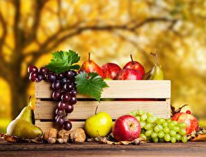 Обои Фрукты Яблоки Груши Виноград Осень Орехи Еда
