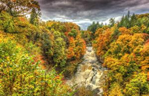 Картинки Времена года Осень Леса Водопады Пейзаж Природа