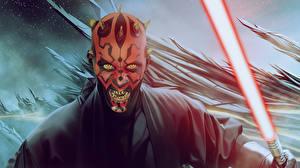 Картинки Воины Звездные войны Звездные войны Эпизод 1 - Скрытая угроза Световой меч Darth Maul Фильмы Фэнтези