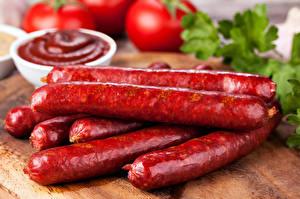 Обои Мясные продукты Колбаса Кетчуп